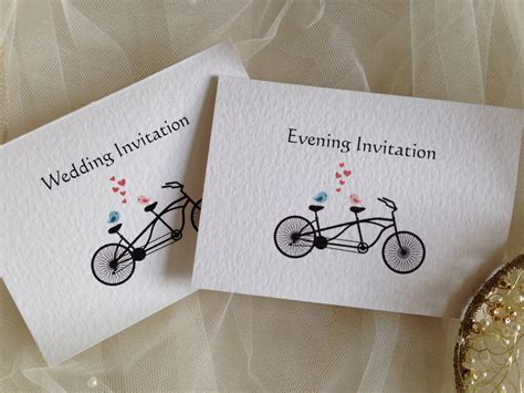 Tandem Bike Top Fold Wedding Invitations   Wedding Invites
