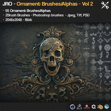 Zbrush Ornament Tutorial | gumroad zbrush sp 55 ornament brushes alpha height