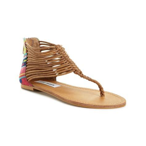 steve madden sandals flat steve madden seaverr flat sandals in brown lyst