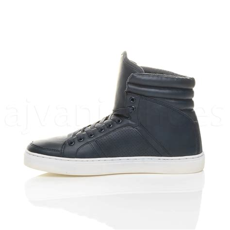 mens lace up casual flat hi high top ankle boots shoes
