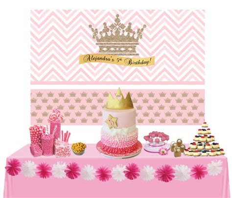 cake table backdrop litte princess personalized backdrop birthday cake table