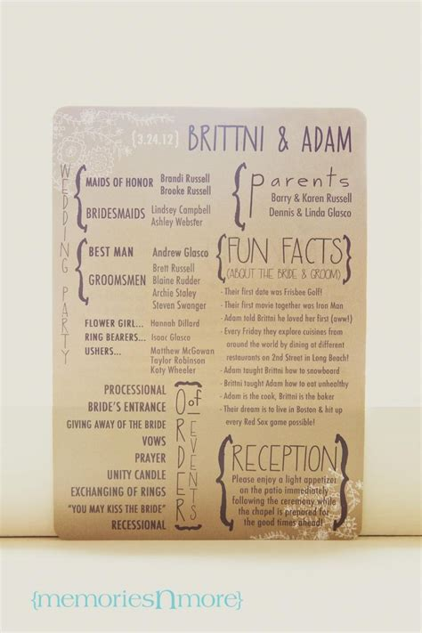 The Wedding Program by Discover And Save Creative Ideas