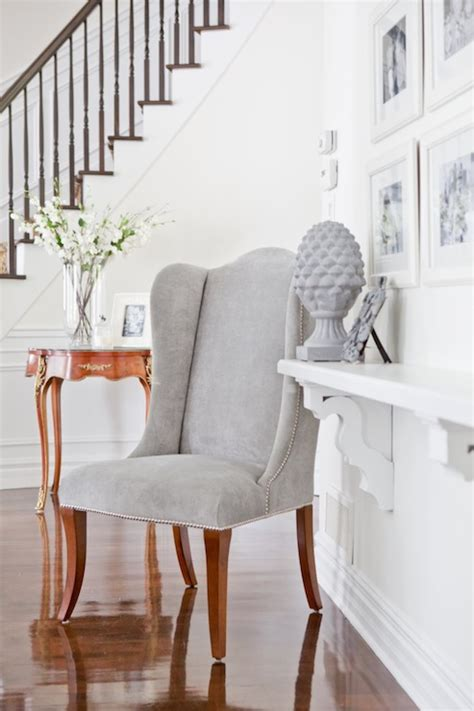 Entrance Chairs Gray Velvet Wingback Chair Transitional Entrance Foyer