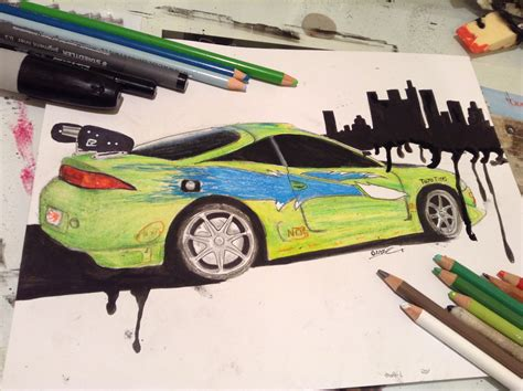 mitsubishi eclipse drawing brian o conner s mitsubishi eclipse furious week youtube