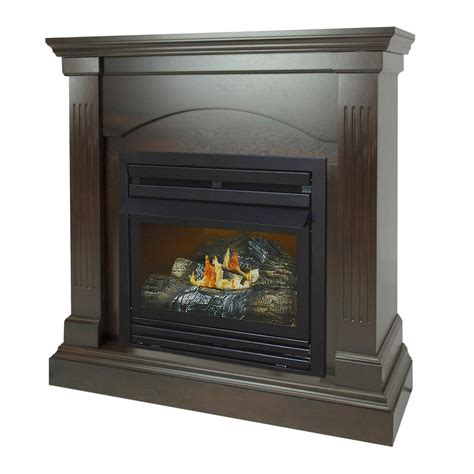 gas fireplace btu pleasant hearth 20 000 btu 36 in compact convertible ventless propane gas fireplace in tobacco