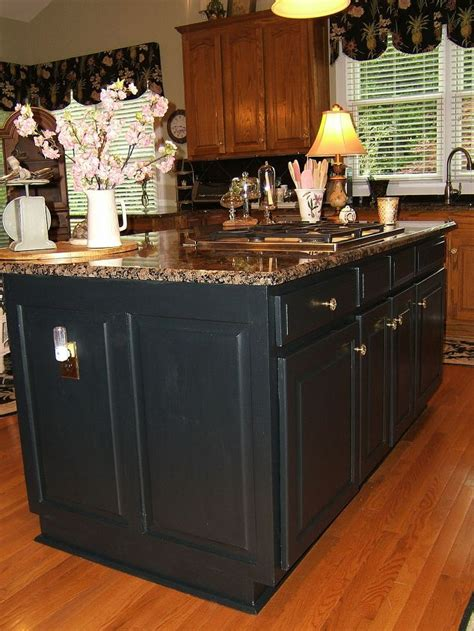painted kitchen featuring oversized black island painting an oak island black hometalk