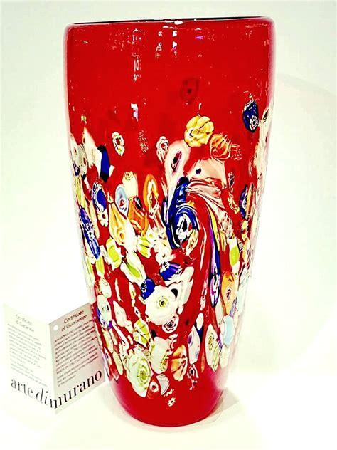vaso rosso vaso rosso con murrine venturini souvenirs vetro di