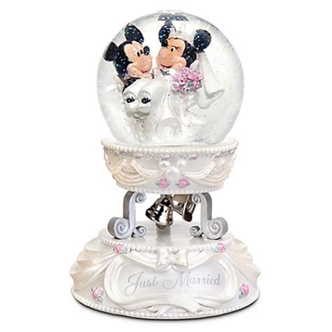 disney snow globe minnie and mickey mouse wedding