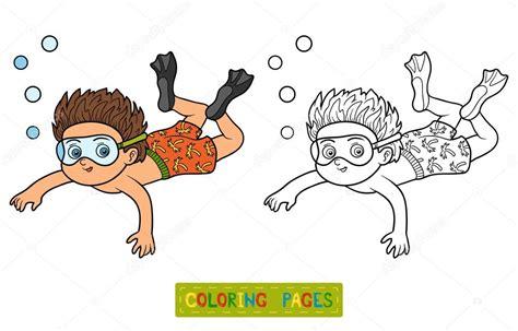 imagenes de niños nadando para colorear libro para colorear ni 241 o nadando en el mar archivo