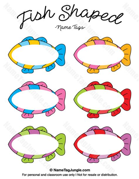Free Printable Fish Shaped Name Tags The Template Can Editable Fish Template