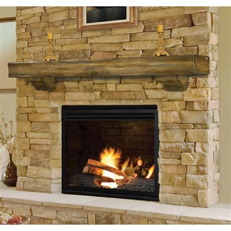 Fireplace Mantels On Brick by Rustic Pine Wood Fireplace Mantel Shelf Brick Anew