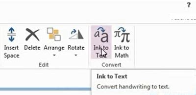 how to convert handwriting to text in onenote