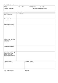 guided reading observation template guided reading observation sheet by york tpt