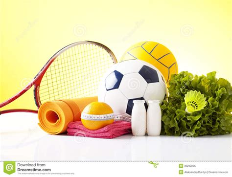 vegetables esports healthy food and sport equipment isolated on white stock