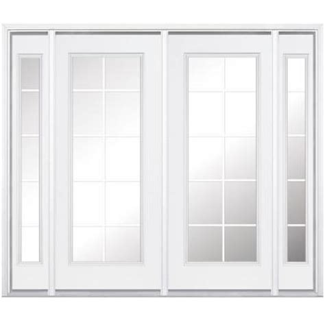 96 Patio Door Masonite 96 In X 96 In Prehung Right Inswing 10 Lite Primed Steel Patio Door With