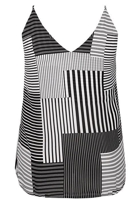 mono stripe lightweight cami vest top with v neckline