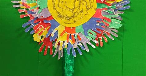 friendship flower display  childrens handprints  eyfs reception classroom