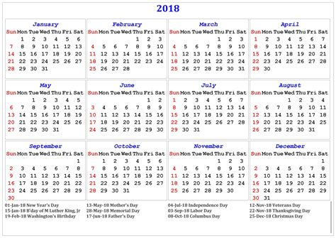 printable calendar 2018 with us holidays 2018 printable calendar with us uk holidays print