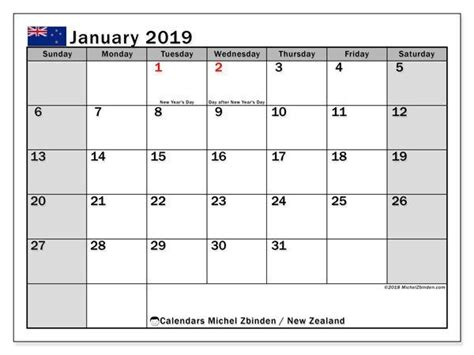 january  calendar nz calendar printables  calendar