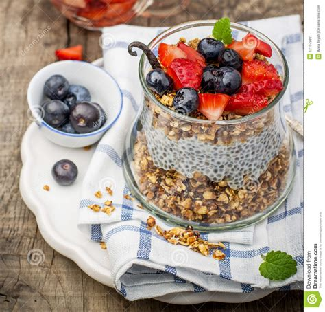 how seed are made chia seed pudding made with blueberries stock photo