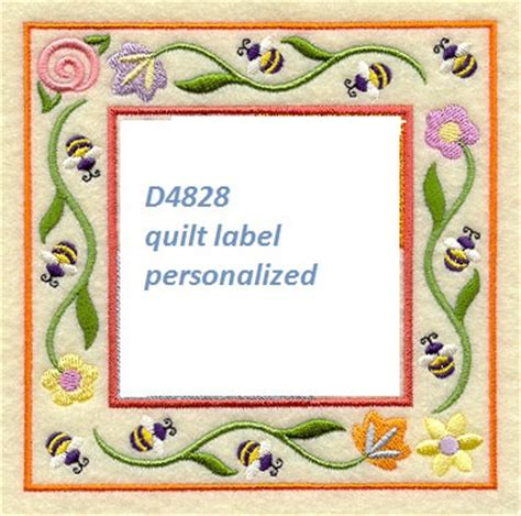 machine embroidery design quilt label d4828 quilt label machine embroidered personalized by