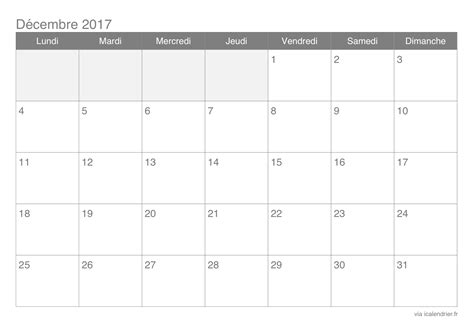 Calendrier Decembre 2017 Pdf Calendrier D 233 Cembre 2017 224 Imprimer Icalendrier