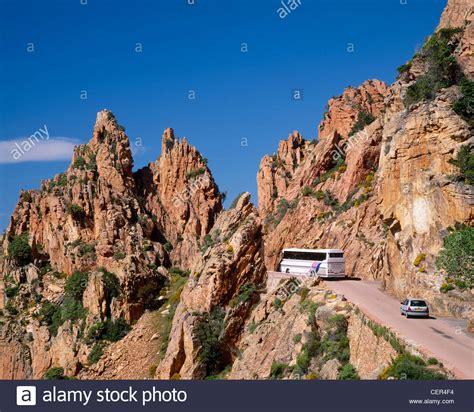 porto corse tour and car on the road through les calanche near