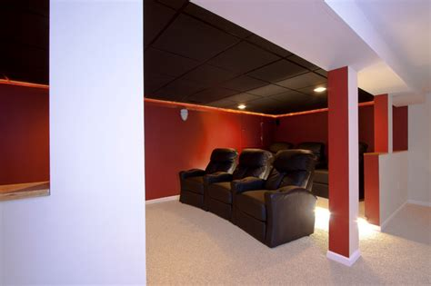 Small Home Theater Build Theater Room In A Small Basement Remodel Traditional