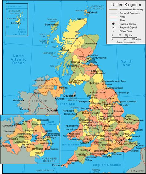united kingdom map with cities united kingdom map
