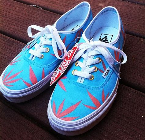 weed pattern vans blue peach marijuana leaf custom vans cannabis fashions