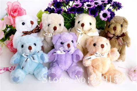 Boneka Teddy Topi Pink 1meter h 13cm lovely bow tie stuffed jointed teddy gift flower packing teddy 9 color 12pcs