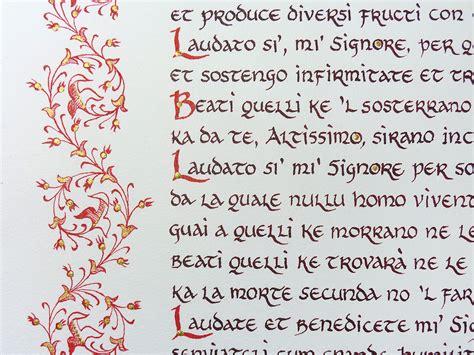 il cantico delle creature testo manoscritto cantico delle creature arte libro unaluna