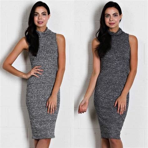 Mini Dress Sabrina Bodycon Black Ribbed M Import Original ribbed knit turtle neck dress boutique beautiful colores y gris