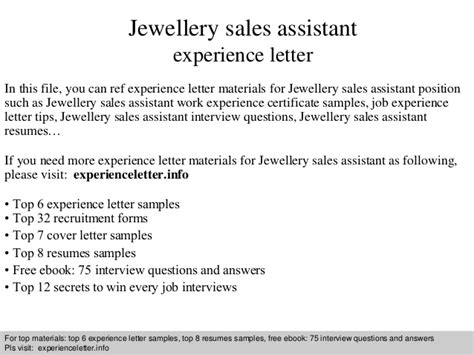 Work Experience Letter Of Introduction Jewellery Sales Assistant Experience Letter
