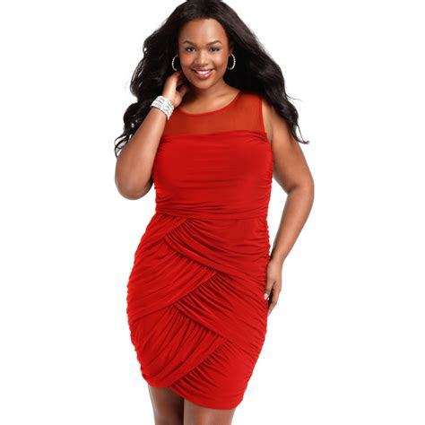 plus size draped dress soprano plus size sleeveless ruched draped dress in red lyst