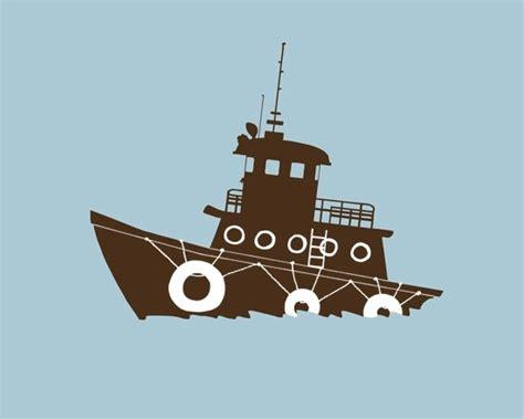 tug boat nursery nautical nursery art tugboat silhouette 8 x 10 modern art
