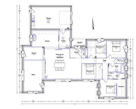 Plain Pied 4 Chambres by Plan Maison Plain Pied 4 Chambres 150m2 Plain Pied En