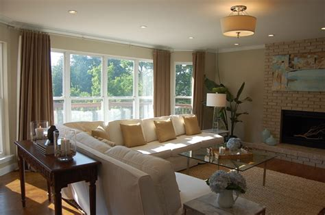Z Gallerie Curtains Slipcovered Sectional Contemporary Living Room