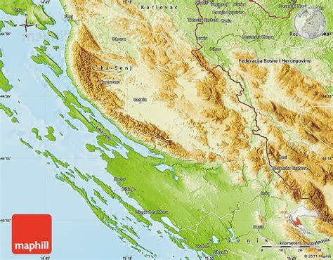 physical map of croatia physical map of zadar knin