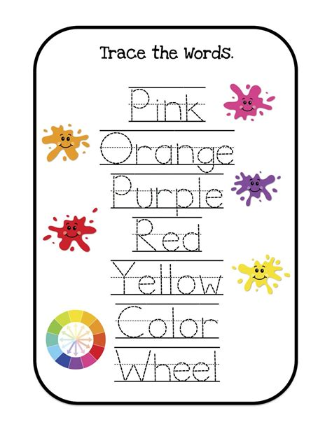 printable toddler words learning colors printable preschool printables