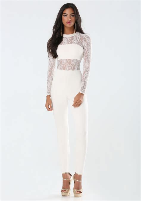 Place Jumpsuit bebe nick ponte lace jumpsuit in white lyst