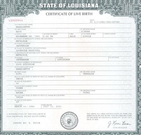 Louisiana Vital Records Birth Certificate Louisiana Birth Certificate Template Santa Clara County Birth Certificate California