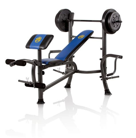 Marcy Standard Weight Adjustable Olympic Bench With 80 Lbs Weight Set Ebay