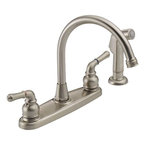 peerless kitchen faucets peerless was01xns 2 handle side sprayer kitchen faucet in