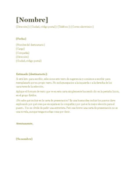 Modelo De Carta De Presentacion Para Un Curriculum Vitae Carta De Presentaci 243 N Para Cv Verde Office Templates