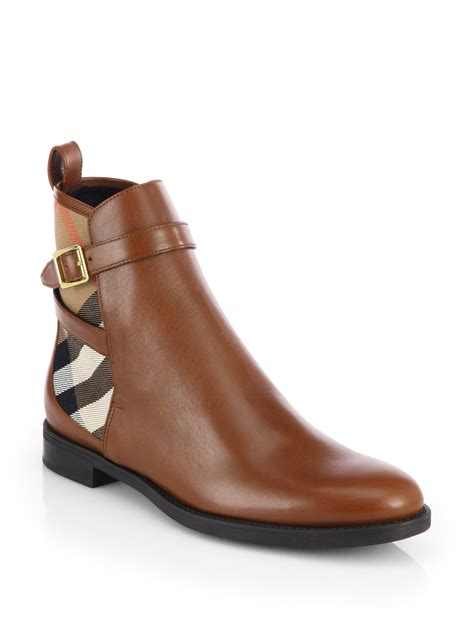 burberry richardson leather check ankle boots in brown lyst