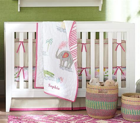 Bright Pink Crib Bedding Jungle Safari Baby Bedding Set Bright Pink Pottery Barn