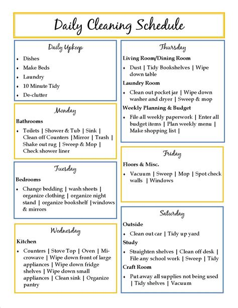 organizing schedule template weekly cleaning schedule clean organize