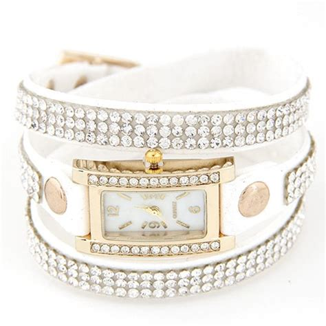 Sale Kn47255 Kalung Layer Silver Eiffel rhinestone attached layer leather bracelet style rectangular wrist white