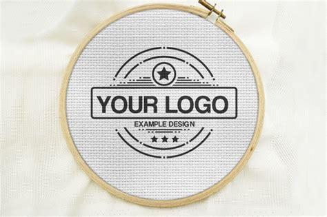 cross stitch embroidery logo mockup mediamodifier